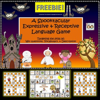 FREEBIE! Halloween Themed Receptive & Expressive Language Game