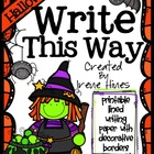 Halloween Write This Way ~ Decorative Printable Lined Octo