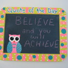Chalkboard Hand Painted Owl Quote of the Day
