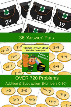 'Hands Off Me Gold' Math Folder Game (March - St Patrick's Day)