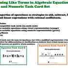 Algebraic Equations Algebra Task Cards Beginner Common Cor