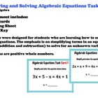 Hands On Equations Subtraction Practice Task Cards Algebra