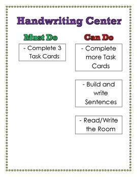 Handwriting Center Must Do, Can Do Poster