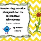 Handwriting practise paragraph for whiteboard - Fastest animals