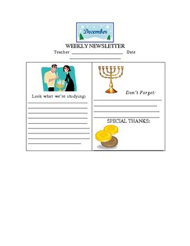 Hannukah Happenings December Weekly Newsletter Template