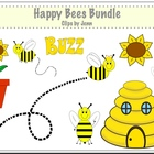 Happy Bees Clip Art {Graphics for personal & commercial use}
