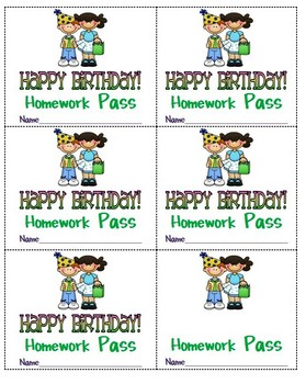 Happy Birthday Homework Passes