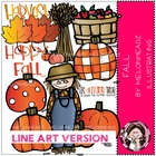 Happy Fall LINE ART bundle by melonheadz