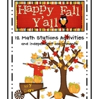 Happy Fall Y&#039;All Math Centers and Activities-Part 1