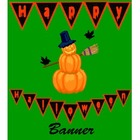 Happy Halloween Banner in Orange and Black
