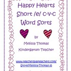 Happy Hearts Short /e/ c-v-c Word Sorts