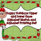 Happy Holidays Upper and Lower Case Alphabet Match and Pri