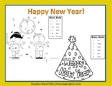 Happy New Year Sight Word Roll and Color