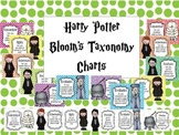 Harry Potter Theme Bloom's Taxonomy Charts - Chevron, Dots, BW