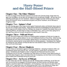 Harry Potter & the Half-Blood Prince Ch. Summaries, Test,