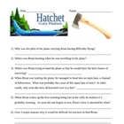 Hatchet - Gary Paulsen - novel test and answer key