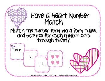 Number, Picture, and Tally Match, Valentine's Day Themed
