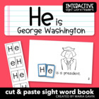 "Interactive Sight Word Reader ""He is George Washington"""