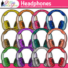 Headphones Dipped in Glitter Clipart - Music, Technology Usage