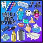 Healthy Habits Doodles digital clip art (BW & full-color P