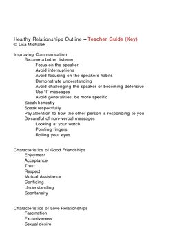 Healthy Relationships Notes Outline Lesson Plan
