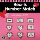 Hearts Number Match {Numbers 0-20 Activity}
