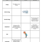 Heat and Energy Vocabulary