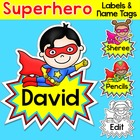 Superhero Kids Theme - Editable Name Tags and Labels - Bac