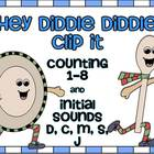 Hey Diddle Diddle Clip It, Numbers 1-8 and Initial Sounds