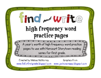 High Frequency Word Find and Write Pages for First Grade