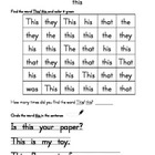 High Frequency Word Packet- this, do, and, what, one