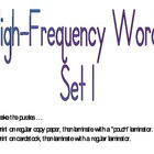 High-Frequency Word Puzzles