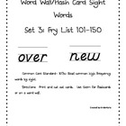 High Frequency Words 101-150 Word Wall Flash Cards: D'Nealian