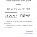 High Frequency Words 101-150 Word Wall Flash Cards