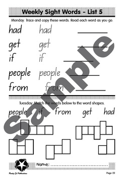 High Frequency Words 2: List 5 - had, get, if, people & from