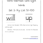High Frequency Words 51-100 Word Wall Flash Cards
