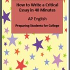 Hints for Writing a Critical Essay in 40 minutes