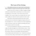 History & The Curse of Free Writing