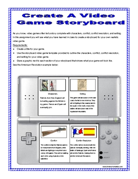History or Reading Activity: Create a Video Game with Template
