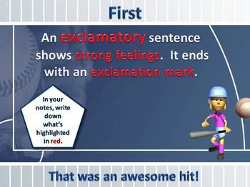 Hit a Homerun with Types of Sentences PowerPoint Lesson an