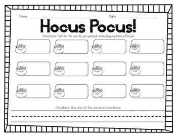 Hocus Pocus! - A Sight Word Game
