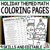 Holiday Coloring Pages for Middle School Math