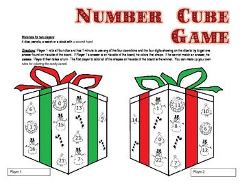 Holiday Math Number Cube Game