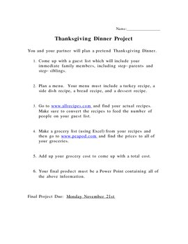 Holiday Menu Project: Thanksgiving, Christmas, Easter