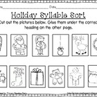 Holiday Syllable Sort Cut & Paste {FREEBIE}