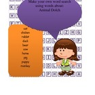 Dolch Animals Word Work - cut out word search to practice