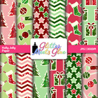 Holly Jolly Christmas Digital Scrapbook Paper Clipart - De
