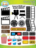Hollywood Movie Night Clip Art Set  — Over 45 Graphics!
