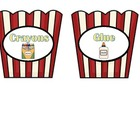 Hollywood Movie Popcorn Theme Supply Labels
