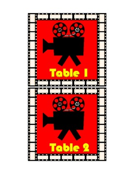 Hollywood Movie Theme Table and Group Numbers